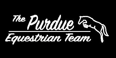 Purdue Equestrian team white logo.